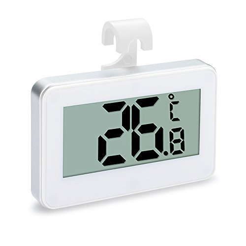 Refrigerator Thermometer,littlejian Digital Waterproof Freezer Room Fridge Thermometer,Max/Min Record Function with Large LCD Display, Perfect for Home,Restaurants,Bars,Cafes.(White)