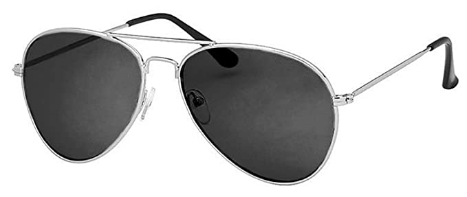 6ef7dd375f1 Black Lens Aviator Sunglasses With Silver Frame Pilot Retro UV400   Amazon.co.uk  Clothing
