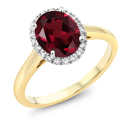 Gem Stone King 10K 2-Tone Gold Oval Red Rhodolite Garnet and Diamond Halo Engagement Ring 2.00 Ct (Size 7)