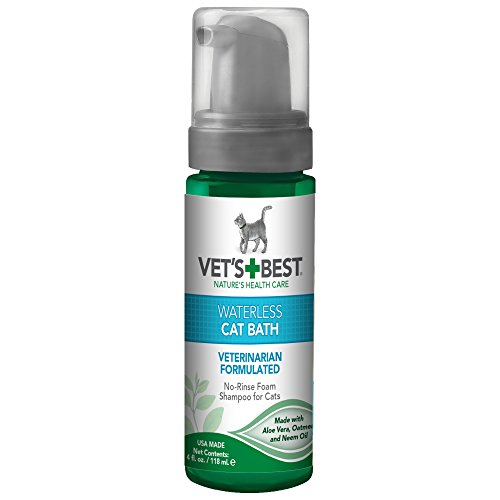 Vet's Best No Rinse Waterless Dry Shampoo for Cats, Natural and Veterinarian Formulated (Care Best Veterinarians Cat)
