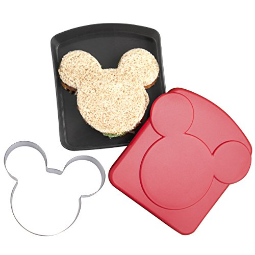 Disney Mickey Mouse Sandwich Crust and Cookie Cutter with Plastic Storage Container - Great for Lunches, Snacks and Baking]()
