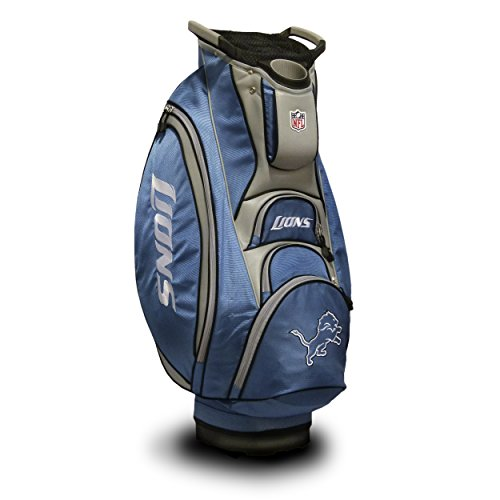 Team Golf NFL Detroit Lions Victory Golf Cart Bag, 10-way Top with Integrated Dual Handle & External Putter Well, Cooler Pocket, Padded Strap, Umbrella Holder & Removable Rain Hood Detroit Lions Golf Cart Bag