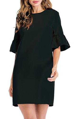 SUNNOW Women's Bell Sleeve Shift Wear to Work Red Cocktail Midi Sheath Dresses with Tulip Sleeve ((US 4-6) S, ()