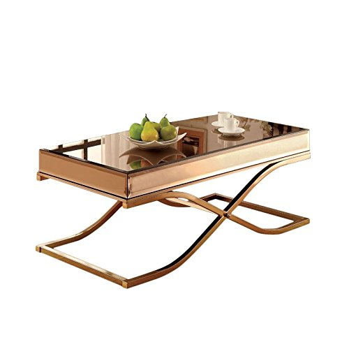 Furniture of America Dorelle Contemporary Glass Top Coffee Table, Brass -
