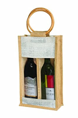 Eco-Friendly Reusable 2 Bottle Wine Carry Tote Bag in Jute/ Burlap with round cane Handle - Black Friday Sale
