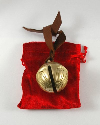 New Santa Real Brass Sleigh Bell Christmas Ornament 1.75 Inch