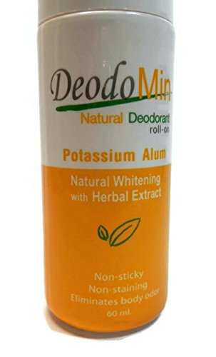 Deodomin Natural Deodorant Roll-on Natural Whitening with Herbal Extract Potassium Alum,2.06 Oz(60ml.) - Extract Crystal Parfum