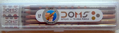 DOMS Groove Slim Triangle Pencils 10 Pencils + Plastic Box + Eraser & Sharpner