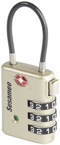 Sesamee K7500PTR 3 Dial Resettable Combination Cable TSA Approved Travel Lock with Indicator Pewter Body by Sesamee by Sesamee