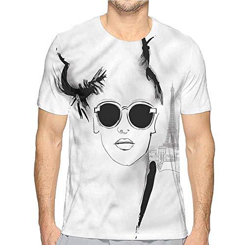 bybyhome Mens t Shirt Girls,Sketch Model with Sunglasses HD Print t Shirt XXL