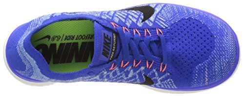 Nike Damen Free 4.0 Flyknit Laufschuhe Blau (Racer Blue/Black-University Blue-Hyper Orange)