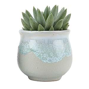 T4U 2.5 Inch Ceramic Flowing glaze solid Gray Base Serial Open Mouth Shape succulent Plant Pot/Cactus Plant Pot Flower Pot/Container/Planter