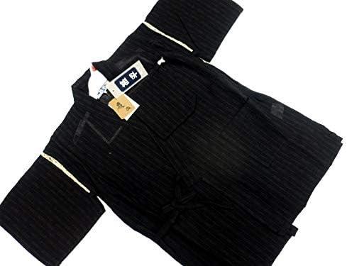 日本製 11~12歳用 男物 子供甚平 140サイズ 黒地 雨縞柄 No.3018