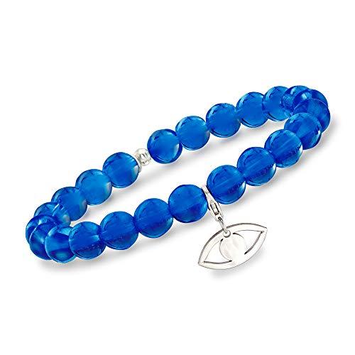 - Ross-Simons Italian Dark Blue Murano Glass Bead Stretch Bracelet with Sterling Silver Evil Eye Charm