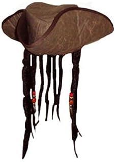 Caribbean Jack Sparrow Fancy Dress Hat With Hair /& Beads
