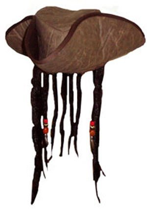 06daf5611b7 Henbrandt Carribbean Pirate Captain Hat with Beads and Attached Fake  Dreadlock Hair (Costume)
