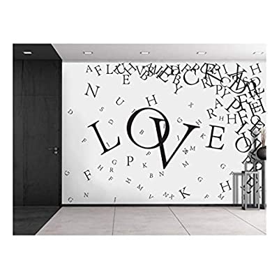 Scattered Black Serif Letters Around The Word Love Wall Mural, Created By a Professional Artist, Elegant Expert Craftsmanship