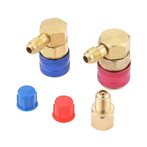 """R12 to R134A Quick Connect Coupler Conversion Kit, High/Low Side 90 Degree Angle Quick Coupler Manifold Gauge Set with R134A 1/2"""" Female x 1/4"""" SAE Male Tank Adapter"""