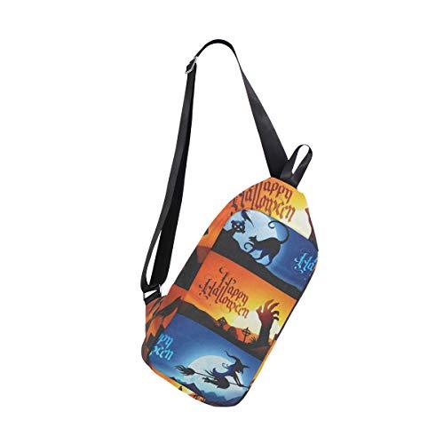 Lovexue Sling Bag Halloween Witch Black Cat Tomb Mens Chest Shoulder Backpacks Crossbody Sports Daypack -