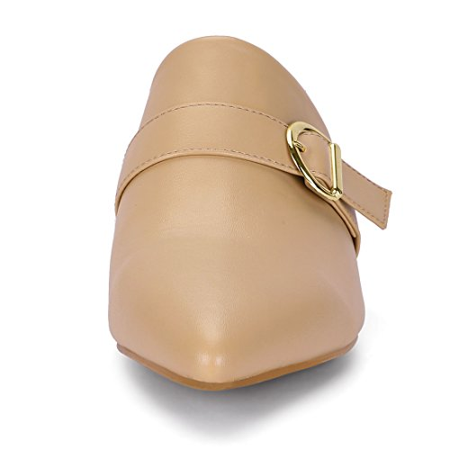 Block Khaki Toe Heel Women's On Mules Slip Pointed Allegra K Sandals SB6vnqqY
