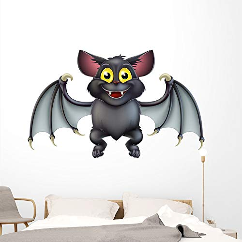 Wallmonkeys Cute Halloween Bat Cartoon Wall Decal Peel and Stick Animal Graphics (72 in W x 44 in H) WM323287 ()