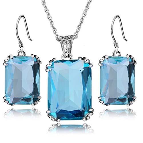 Softmusic Summer Style 3Pcs/Set Vintage Women Square Rhinestone Pendant Necklace Hook Earrings Gift - Light Blue