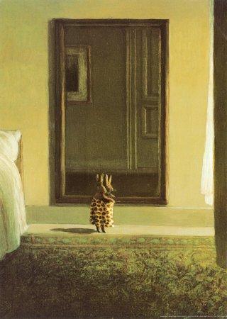 (20x28) Michael Sowa Bunny Dressing Art Print Poster