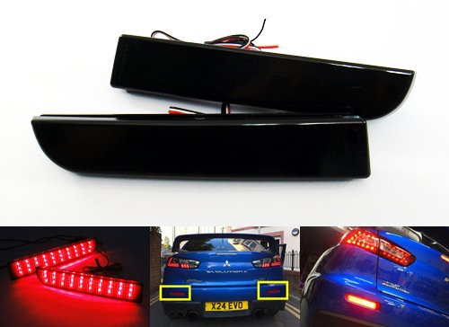 2 x schwarz Rauchglas-Linse Stoß stange hinten Reflektor LED Nebel Schwanz Stop Bremslicht DRL fü r 2008-up Handschuh Lancer Evo X Outlander ASX RZG