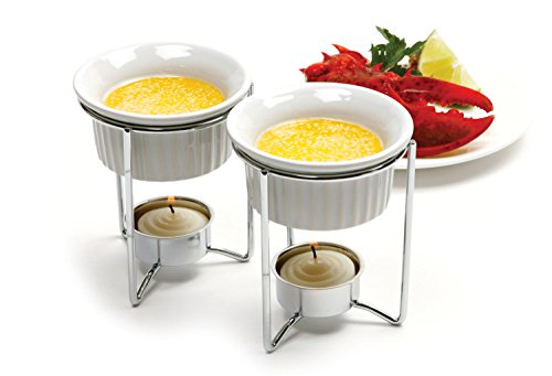 Stainless & Ceramic Butter, Dipping Sauce Warmers Set of 2