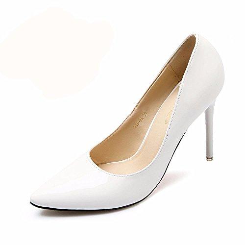 HXVU56546 El Nuevo Y Elegante Y Atractivo Tacones Altos Durante La Primavera Y El Otoño Solo Zapatos Zapatos De Mujer Zapatos De Trabajo 34 Blanco