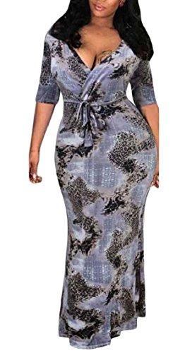 Jaycargogo Femmes Taille Plus Wrap V Cou Cravate Taille Imprimé Robe Maxi Longue 1