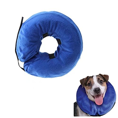 Keross Inflatable Recovery Collar for Dogs and Cats-Comfortable Soft Pet E-Collar Does Not Block Vision Medical Postoperative Wound Healing Cone Blue(NECK CIR 10-13 in)