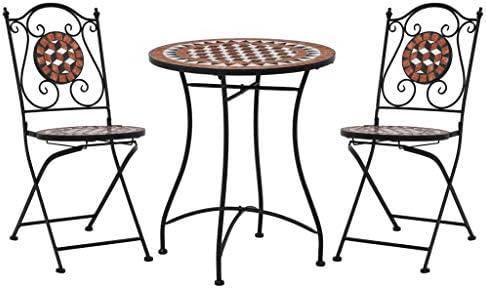 vidaXL Mesa y Sillas de Bistró 3 Piezas con Mosaico Cerámica Hogar Jardín Comedor Bricolaje Decoración Diseño Estilo Mobiliario Muebles Terracota: Amazon.es: Hogar