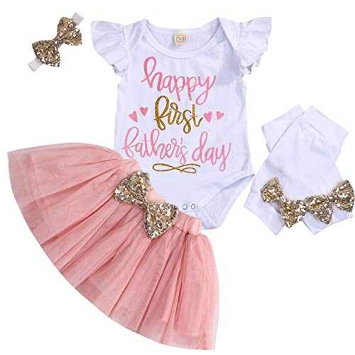 Baby Girl Happy First Fathers Day Outfit Ruffle Sleeve Romper+Tutu Skirt+Headband 4PCS Clothes Set (Pink, 6-12 Months)