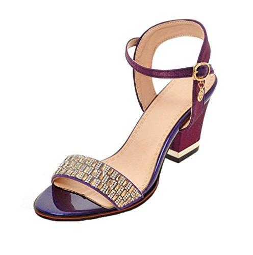 GMBLB013454 Violet Sandales Femme Boucle AgooLar Correct à Talon d'orteil Ouverture Serte OHP7v