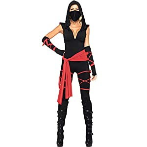 Halloween Costumes Women Ninja Cosplay 5 Piece Ninja Costume Set with Mask