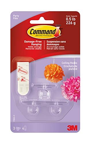 Command Party Ceiling Hooks, 3-Hooks -
