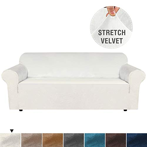 """Luxurious Real Velvet High Stretch Sofa Cover / Slipcover Soft Spandex Form Fit Slip Resistant Furniture Cover Couch Covers Soft with Elastic Bottom for Kids Machine Wash(Sofa 72""""-96"""", Ivory)"""