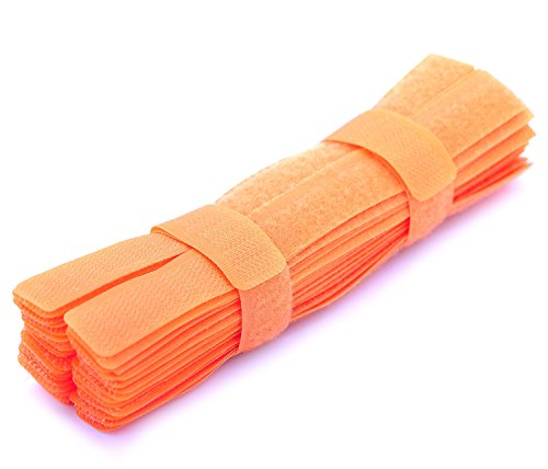 Pasow 50pcs Cable Ties Reusable Fastening Wire Organizer Cord Rope Holder 7 Inch (Orange Wire)