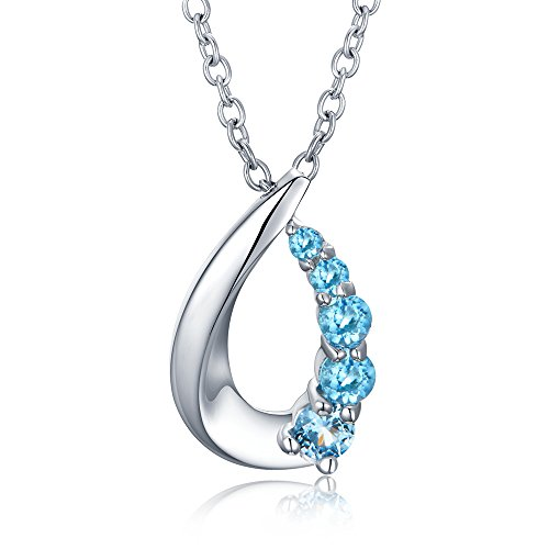 Natural Topaz Pendant Necklace Silver 925 Jewelry for Women Girls Ideal Christmas Gifts Birthday Gifts for Daughter Granddaughter Girlfriend Mother Wife (Necklace)