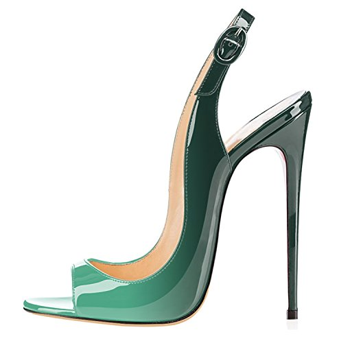 Toe Sandali da Col Scarpe Verde Classici Col 120MM Tacco Donna Scarpe Scarpe Sandali multicolore Classiche Sandali Tacco uBeauty Peep AOx6Hqw
