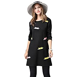Elegant Ladies Full-Sleeve Print Lovely Cat A-Line Dress, Plus Size (XL, Black)