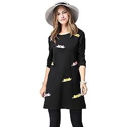 Elegant Ladies Full-Sleeve Print Lovely Cat A-Line Dress, Plus Size (XL, Black)