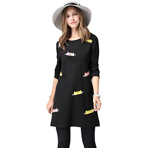 Elegant Printed Cat Dress Women's Stretchy Lovely Cartoon Cloth, Plus Size 41l3poEMwDL