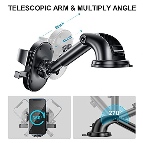 IOHOVE Strong Suction Cup Phone Mount for Car, Windshield Dashboard Car Cell Phone Holder Mount for iPhone, Compatible with iPhone 11 Pro Xs XR X 8 7 Plus SE, Samsung Galaxy S10 S10+ S9 Note 10, LG