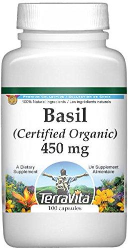 Basil (Certified Organic) - 450 mg (100 Capsules, ZIN: 517570)