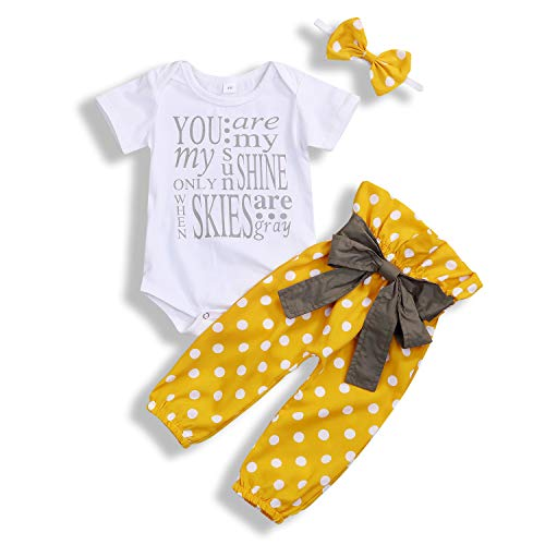 YOUNGER TREE Infant Baby Girls Romper Suit Long Sleeve Letter Printed Yellow Bow-Knot Pants Set 3Pcs (Yellow#1, 6-12 Months)]()