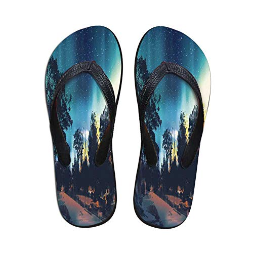 (Fantasy Art House Decor Stylish Flip Flops,Enchanted Night with Stars and Northern Lights in Sky Above Mystic Road for Women & Girls,US Size 5)