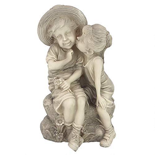 Design Toscano Kissing Kids Boy and Girl Garden Decor Statue, 14 Inch, Polyresin, Antique Stone