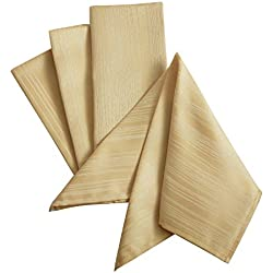 "Benson Mills Flow ""Spillproof"" Fabric Tablecloth, Set of 4, 18X18 Inch, Ivory/Ecru"